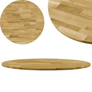vidaXL Table Top Solid Oak Wood Round 23 mm 500 mm