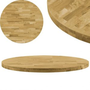 vidaXL Table Top Solid Oak Wood Round 44 mm 600 mm