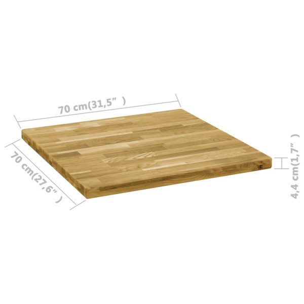 Table Top Solid Oak Wood Square 44 mm 70×70 cm