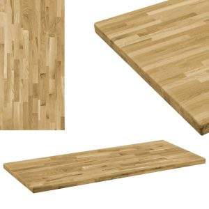 vidaXL Table Top Solid Oak Wood Rectangular 44 mm 100×60 cm