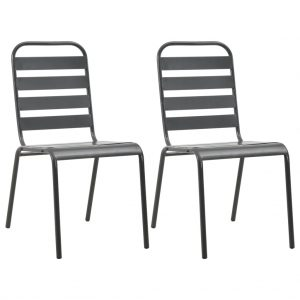 vidaXL Stackable Outdoor Chairs 2 pcs Steel Grey