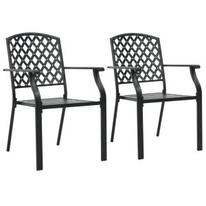 vidaXL Stackable Outdoor Chairs 2 pcs Steel Black