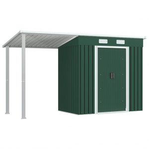 vidaXL Garden Shed with Extended Roof Green 346x121x181 cm Steel