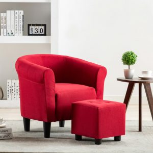 vidaXL 2 Piece Armchair and Stool Set Wine Red Fabric