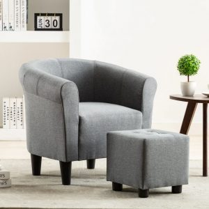 vidaXL 2 Piece Armchair and Stool Set Light Grey Fabric