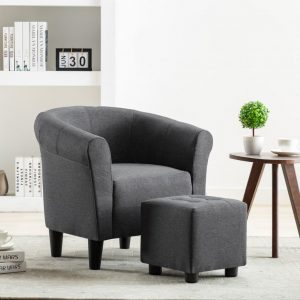 vidaXL 2 Piece Armchair and Stool Set Dark Grey Fabric