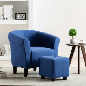 vidaXL 2 Piece Armchair and Stool Set Blue Fabric