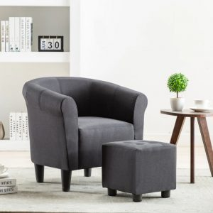 vidaXL 2 Piece Armchair and Stool Set Black Fabric
