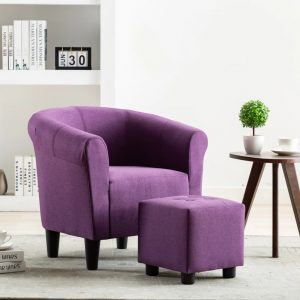 vidaXL 2 Piece Armchair and Stool Set Purple Fabric