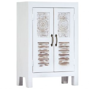 vidaXL Carved Sideboard White 60x30x89 cm Solid Mango Wood