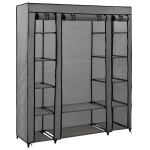 vidaXL Wardrobe with Compartments and Rods Grey 150x45x176 cm Fabric