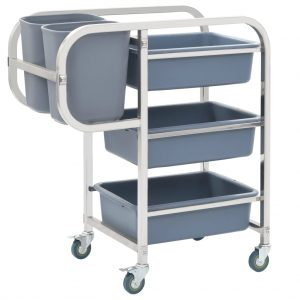 vidaXL Kitchen Cart with Plastic Containers 87×43.5×92 cm