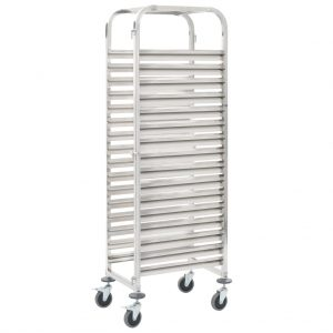 vidaXL Kitchen Trolley for 16 Trays 38x55x163 cm Stainless Steel