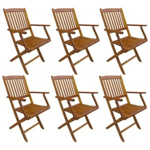 vidaXL Folding Outdoor Chairs 6 pcs Solid Acacia Wood
