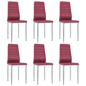 vidaXL Dining Chairs 6 pcs Red Faux Leather