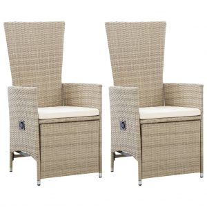 vidaXL Reclining Garden Chairs 2 pcs with Cushions Poly Rattan Beige