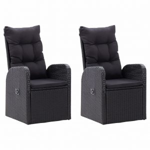 vidaXL Reclining Garden Chairs 2 pcs with Cushions Poly Rattan Black