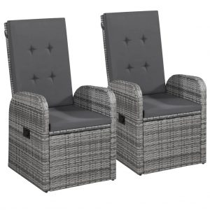 vidaXL Reclining Garden Chairs 2 pcs with Cushions Poly Rattan Grey