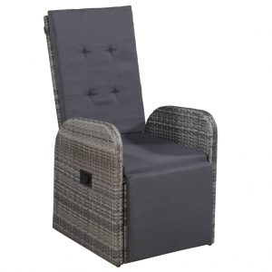 vidaXL Reclining Garden Chair with Cushion Poly Rattan Grey