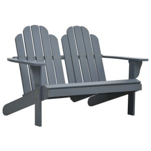 vidaXL Double Adirondack Chair Wood Grey