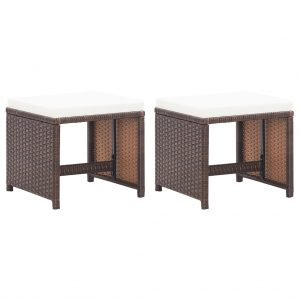 vidaXL Garden Stools 2 pcs with Cushions Poly Rattan Brown