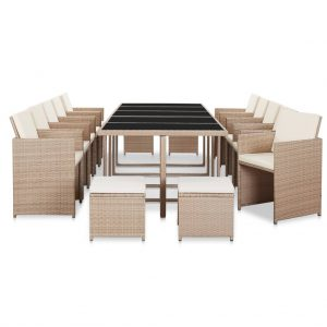 vidaXL 15 Piece Outdoor Dining Set with Cushions Poly Rattan Beige