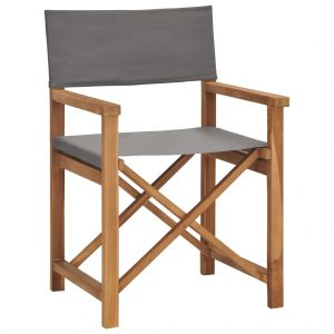 vidaXL Director's Chair Solid Teak Wood Grey