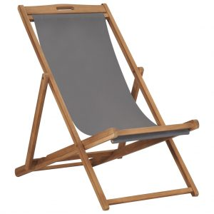 vidaXL Folding Beach Chair Solid Teak Wood Grey