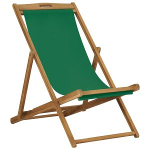 vidaXL Folding Beach Chair Solid Teak Wood Green