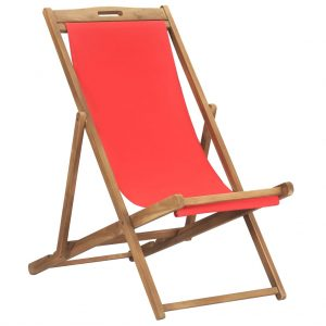 vidaXL Folding Beach Chair Solid Teak Wood Red