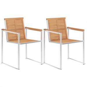 vidaXL Garden Chairs 2 pcs Solid Teak Wood and Stainless Steel