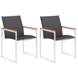 vidaXL Garden Chairs 2 pcs Textilene and Stainless Steel Grey