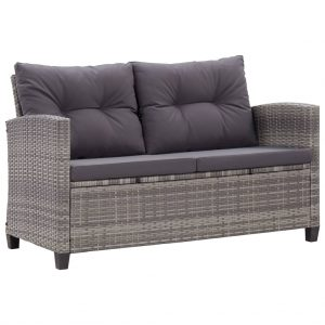 vidaXL 2-Seater Garden Sofa with Cushions Grey 124 cm Poly Rattan