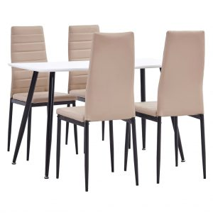 vidaXL 5 Piece Dining Set Faux Leather Cappuccino