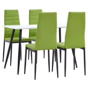 vidaXL 5 Piece Dining Set Faux Leather Lime Green
