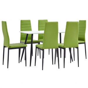 vidaXL 7 Piece Dining Set Faux Leather Lime Green