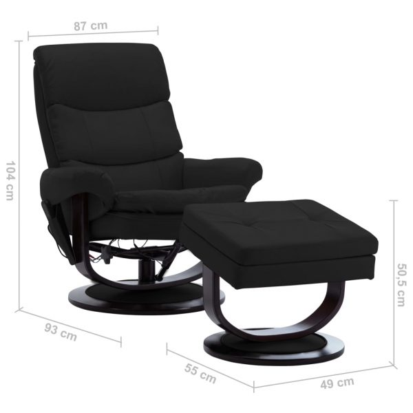 Massage Reclining Chair Black Faux Leather and Bentwood