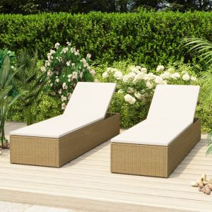 vidaXL Sunlounger Poly Rattan Brown and Cream White