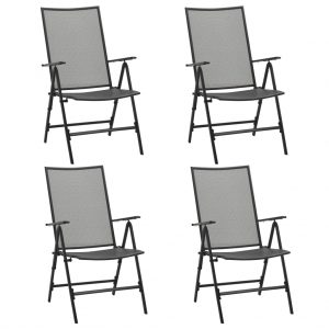vidaXL Folding Mesh Chairs 4 pcs Steel Anthracite