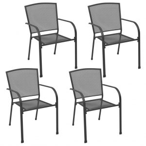 vidaXL Outdoor Chairs 4 pcs Mesh Design Anthracite Steel