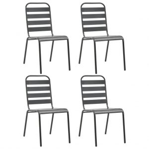 vidaXL Outdoor Chairs 4 pcs Slatted Design Steel Dark Grey