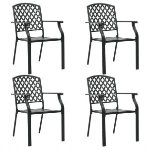 vidaXL Outdoor Chairs 4 pcs Mesh Design Steel Black