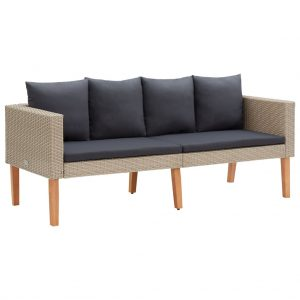 vidaXL 2-Seater Garden Sofa with Cushions Poly Rattan Beige