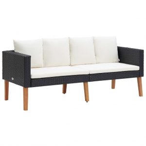 vidaXL 2-Seater Garden Sofa with Cushions Poly Rattan Black