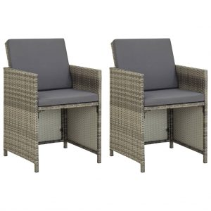 vidaXL Garden Chairs 2 pcs with Cushions Poly Rattan Grey