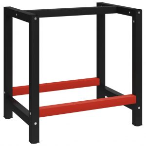 vidaXL Work Bench Frame Metal 80x57x79 cm Black and Red