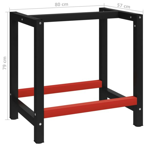 Work Bench Frame Metal 80x57x79 cm Black and Red