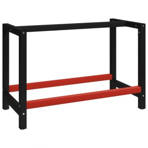vidaXL Work Bench Frame Metal 120x57x79 cm Black and Red