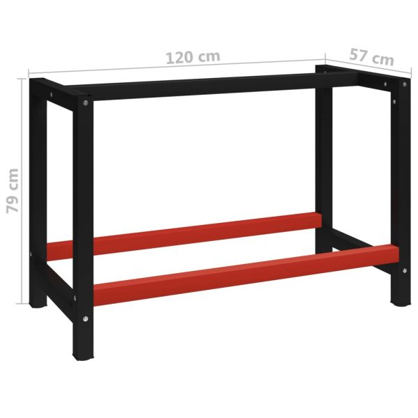 Work Bench Frame Metal 120x57x79 cm Black and Red