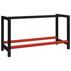 vidaXL Work Bench Frame Metal 150x57x79 cm Black and Red